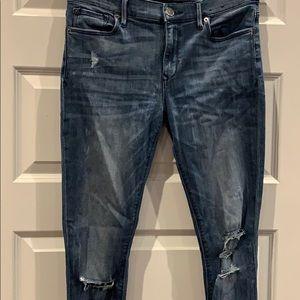 Jean legging mid rise — lightly distressed